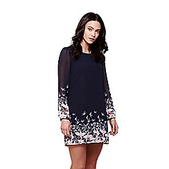 Yumi - Blue floral bird tunic dress