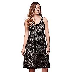 Yumi - Black strappy lace occasion dress