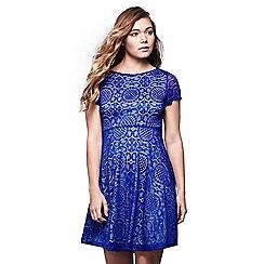Yumi - Blue lace tile skater dress