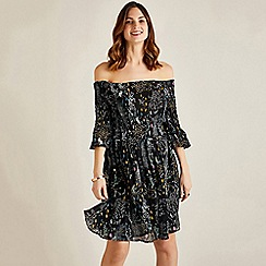 Yumi - Black floral crepe bell sleeve dress