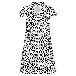 Yumi - Black paper lace shirt swing dress