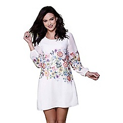 Yumi - Ivory botanical border tunic dress