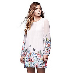 Yumi - Ivory tropcial floral long sleeve tunic dress