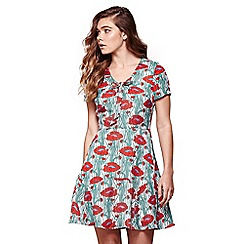 Yumi - Ivory poppy print skater dress