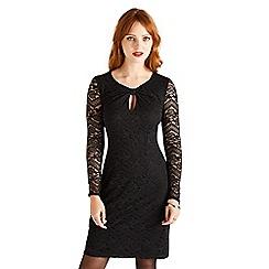Yumi - Black bow lace bodycon dress