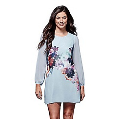 Yumi - Blue floral 'Lily' long sleeve knee length dress