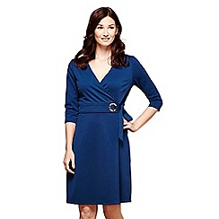 Yumi - Blue v-neck 'Harmony' ponte wrap dress