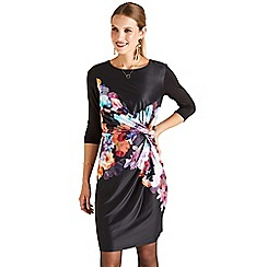 Yumi - Black floral 'Isla' knee length pencil dress