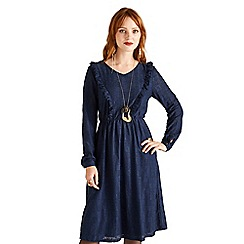 Yumi - Navy ruffled lace dress