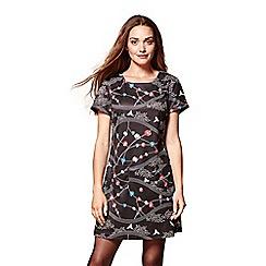 Yumi - Black floral 'Millie'tunic dress