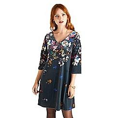 Yumi - Grey floral print 'Genevieve' tunic dress