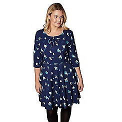 Yumi Curves - Blue abstract pattern dress