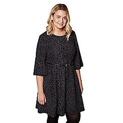 Yumi Curves - Black spot print pleated dress