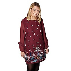 Yumi Curves - Red floral print 'Charley' plus size tunic dress