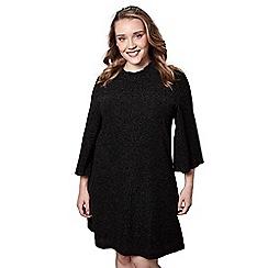 Yumi - Black high neck tunic dress