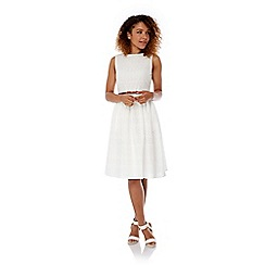 Yumi - Cream Broderie Anglaise Midi Dress