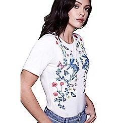 Yumi - Ivory floral bird t-shirt