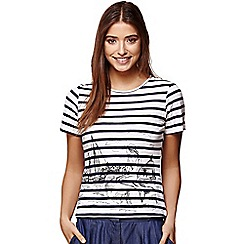 Yumi - Ivory scandi sketch stripe t-shirt