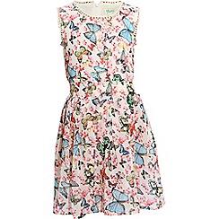 Yumi Girl - Cream Crochet Butterfly Print Dress