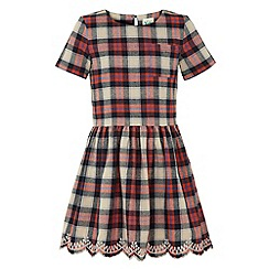 Yumi Girl - Embroidered check dress