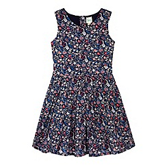 Yumi Girl - Navy Prairie Floral Print Day Dress