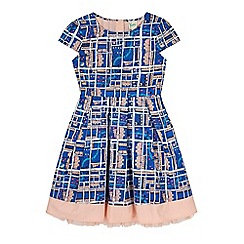 Yumi Girl - Blue notting hill print box pleat dress