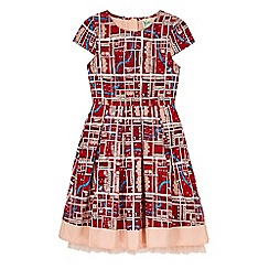 Yumi Girl - Red notting hill print box pleat dress