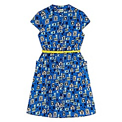 Yumi Girl - Blue camera print shirt dress
