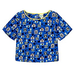 Yumi Girl - Blue camera print boxy top