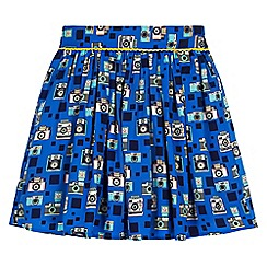 Yumi Girl - Blue camera print skater skirt
