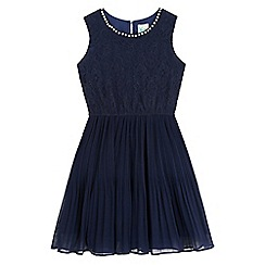 Yumi Girl - Blue pearl trim lace party dress
