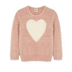 Yumi Girl - Pink pearl heart print jumper