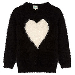 Yumi Girl - Black pearl heart print jumper