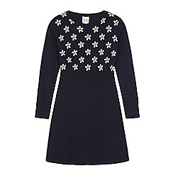 Yumi Girl - Blue daisy print jumper dress