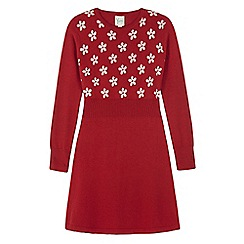 Yumi Girl - Red daisy print jumper dress