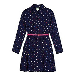 Yumi Girl - Blue Scribble Spot Print Shirt Dress