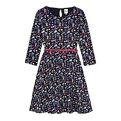 Yumi Girl - Blue Doodle Print Skater Dress