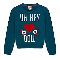 Yumi Girl - Green statement slogan print embroidered jumper