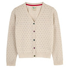 Yumi Girl - Cream sequin button pointelle cardigan
