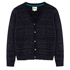 Yumi Girl - Blue sequin button pointelle cardigan