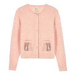 Yumi Girl - Pink sequin pocket cardigan