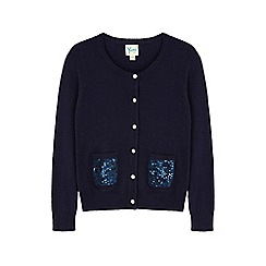 Yumi Girl - Blue sequin pocket cardigan