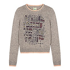 Yumi Girl - Grey notting hill print jumper