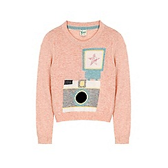 Yumi Girl - Pink camera print jumper