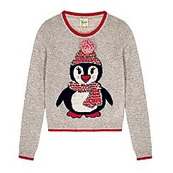Yumi Girl - Grey penguin print pom pom jumper