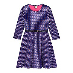 Yumi Girl - Blue Penguin Print Skater Dress