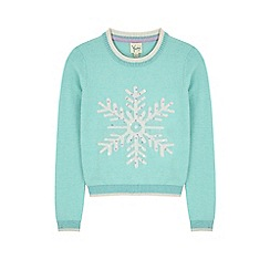 Yumi Girl - Blue snowflake print jumper