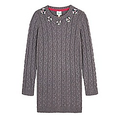 Yumi Girl - Grey embellished cable jumper dress