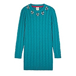 Yumi Girl - Green embellished cable jumper dress