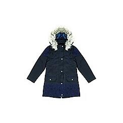 Yumi Girl - Blue faux fur hood parka coat